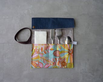Covered in recycled denim flowers/designs geometric pouch case