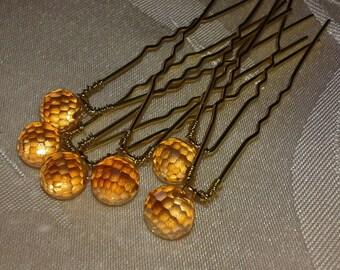 6 hair pins Pearl Crystal metal 6.5 cm