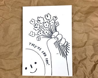 They're For You! A6 Illustrated Greetings Card