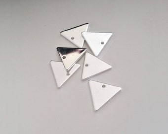 Set of 10 charms Silver clear triangle 13mm pendant - DK - H3