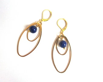 Gold Oval rings and lapis lazuli bead earrings