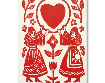 """Original """"Folklore"""" greeting card / Hand-printed """"Folklore"""" greeting card"""
