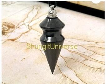 Shungite pendulum, emf protection, schungite pendant, schungit necklace, magic pendulum,healing reiki crystal, elite shungite,pagan pendulum