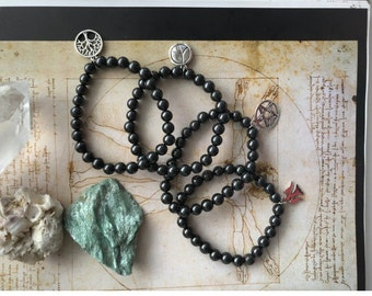 A set of 4 Shungite bracelets 7mm d of the beads,emf protection,aura healing,reiki practice,meditation,yoga,natural healing,pagan,wicca