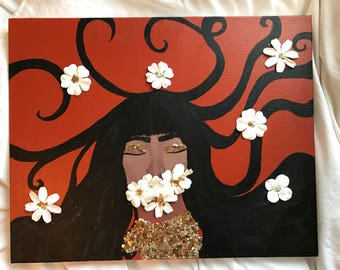 Medusa Mixed Media Painting