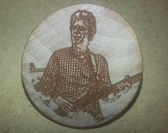 Wooden Etched Phil Lesh Wooden Magnet or Pin Grateful Dead and Company Lot Merch Bass
