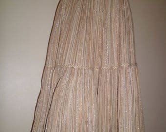 Gold pleated skirt in linen and lurex t36