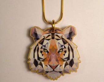 Small/ Medium TIGER necklace- image printed onto LASERCUT ACRYLIC (larger version also available- pls see shop) Festival Secret Garden Party