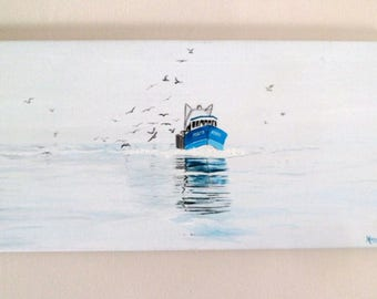 Table - Returning to port fishing boat
