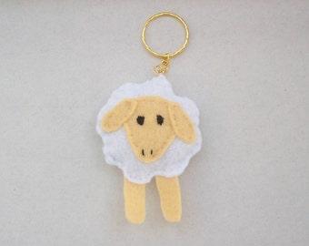felt sheep key ring