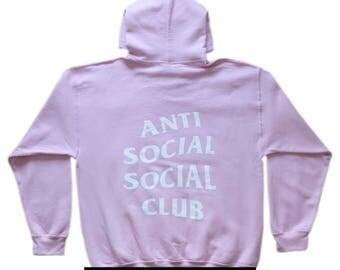 AntiSocial Social Club Hoodie Anti Social Social Club Hooded Kanye Sweatshirts Pink Hoodie