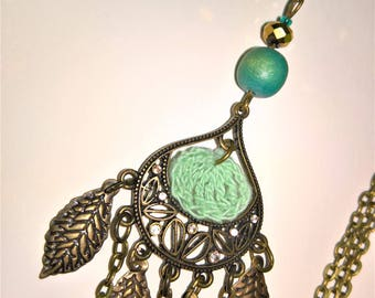 Crochet Turquoise and bronze necklace