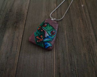 Frogs, Tree Frog, Painted Frog Pendant, Painted Tree Frog Pendant, Painted Jewelry, Painted Necklace, Painted Pendants