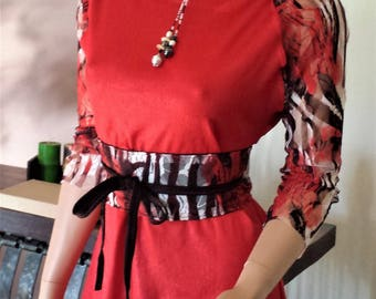Cherry top and belt 100% made in France