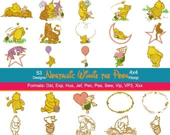 53 Nostalgic Winnie the Pooh Embroidery Machine Designs, 4 Inch Hoop, Disney Embroidery, Eeyore, Tigger, Piglet, Pooh Bear, Instant Download