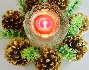 Red or Gold Pine Cone Centerpiece with Tealight Holder