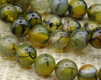 10 round beads 12mm dragon vein agate