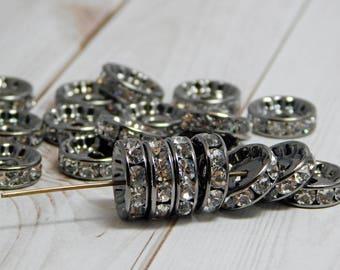 10pcs - 12mm - Rhinestone Rondelle - Gunmetal Spacer Beads - Crystal Rhinestone - Crystal Spacers - Rhinestone Spacer Beads - (B681)