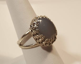 Moon Stone Ring set in Silver 925, double band Ring.