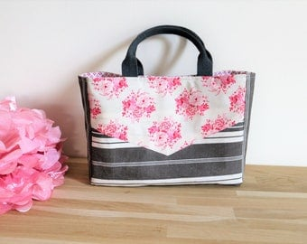 "Tote bag floral ""bouquet of roses from Tilda vintage mattress ticking"
