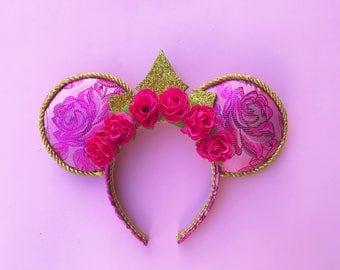 Sleeping Beauty Ears Aurora Flower Crown Disney Inspired Mickey Minnie Mouse