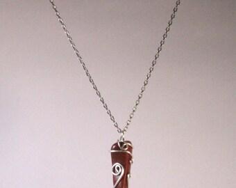 Tumbled Sunstone reconstituted pendant.