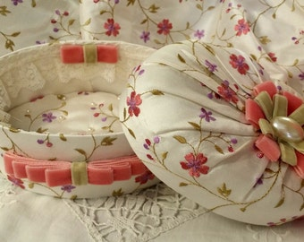 BOX SHABBY CHIC Embroidered silk and velvet bow