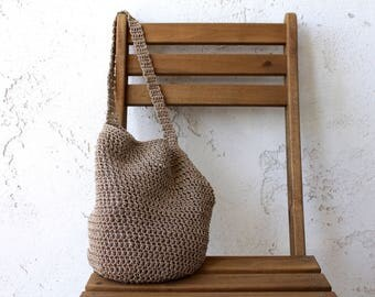 Tan cotton farmers market bag with color options tote bag cotton bag grocery bag crochet crocheted market bag produce bag cotton tote