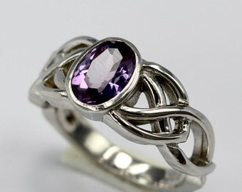 Celtic Double Knot Trinity Amethyst Oval Bezel Set  Silver Engagement Ring- Wedding, Anniversary, Promise, Proposal, Handfasting,Friendship