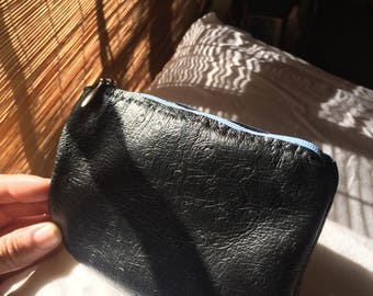 Leather Coin Purse With Fabric and Zipper Detail