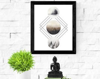 Watercolor Forest Scandinavian Art | Minimalist Nordic Print | Foggy Forest Art Print | Woodland Tree Painting | Forest Trio Printable