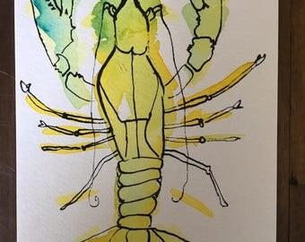 Handpainted Watercolor Lobster Postcard