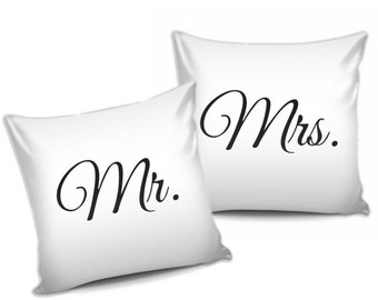 Mr. & Mrs. Pillows or Pillowcases - Wedding Bride Groom Anniversary Engagement Gift