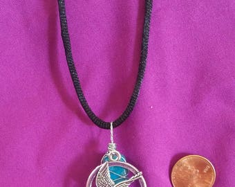 "Mocking Jay Charm and Turquoise-Colored Wire-Wrapped Stone 18"" Necklace **FREE DOMESTIC SHIPPING**"