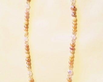 Rose quartz crystal cut stone necklace