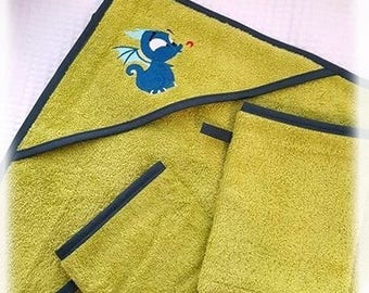 Box bath dragon / hooded towel / gloves baby / birth gift / lime green baby towel