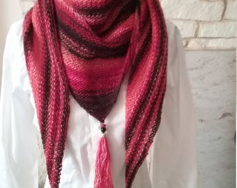 Trendy woolen shawl hand made with tassels and beads