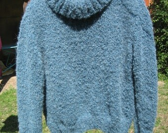 Large Turtleneck wool soft blue green, sweater size L