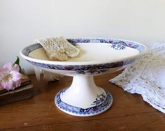 Faïence de Longchamp, compotier en terre de fer du début du XXème siècle, modèle LILY / French Ironstone compote dish / vaisselle ancienne