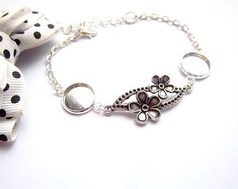 Support silver plated ring 12mm, large flower connector bracelet