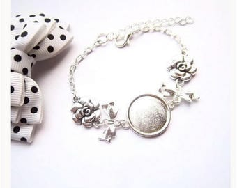 x bracelet holder silver 18 mm, bow tie cabochon flower