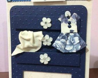 Navy and Cream Baby Girl Baby Shower Card