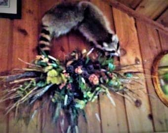 "A unique Hanging Wall Art Wreath entitled "" Raccoon Me """