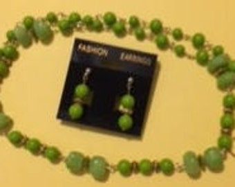Lime Green Beads and Nuggets Necklace Set