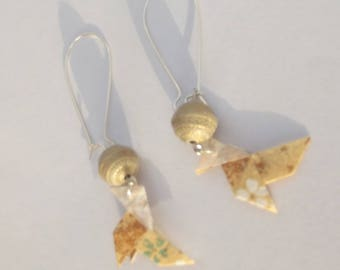 Large earrings dangling with gold beads and pine cones origami Japanese paper gold flowers.