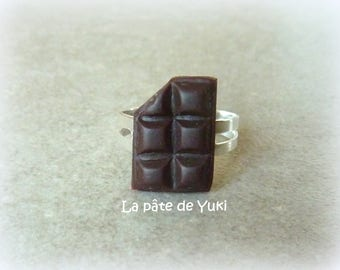 Ring adjustable rectangular bar of chocolate brown handmade polymer clay
