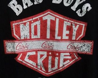 Vintage Style Women T-Shirts MOTLEY CRUE Girls Girls Girls Bad Boys Hollywood CA