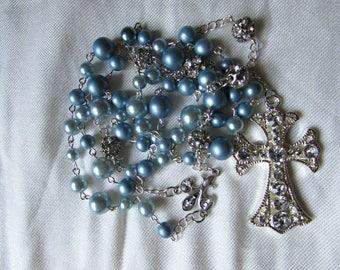 Light Blue and Rhinestone Rosary