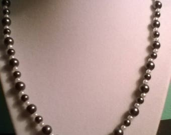 Black and White Pearl Necklace Handcrafted
