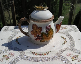 BICO China Autumn Leaves and Grapes Teapot, Hand Painted Teapot, Vintage Teapot, Autumn Leaves and Grapes Teapot, Hand Painted Teapot
